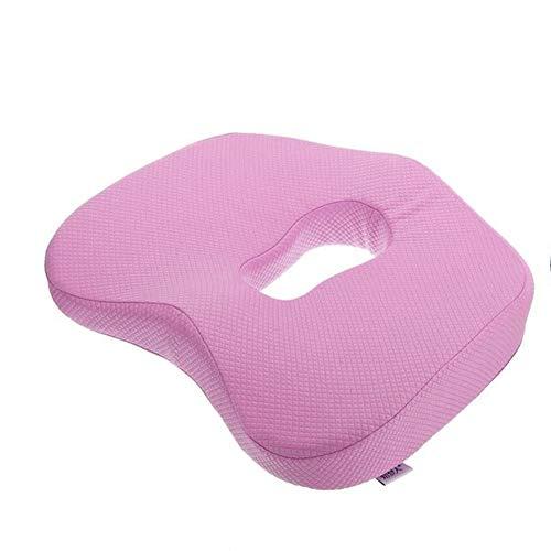 Antislip Orthopedisch Memory Foam zitkussen voor bureaustoel auto rolstoel rugsteun Sciatica Coccyx Tailbone pijnbestrijding roze