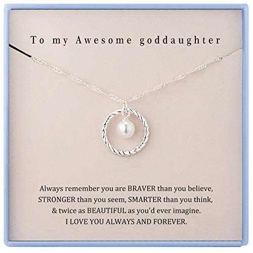 Goddaughter Necklace Goddaughter Gifts for Girls Sterling Silver Circle Necklaces for Girls Goddaughter Daughter Gifts from Godmother Christmas Holiday Jewelry