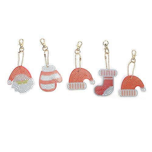 HEEPDD Sleutelhanger met diamant, 5 stuks, kerstboor met strassteentjes, mozaïek maken, decoratieve kits voor sleutelring, telefoon, charme, tas, decoratie, kinderen, volwassenen, beginners, kerstcadeau