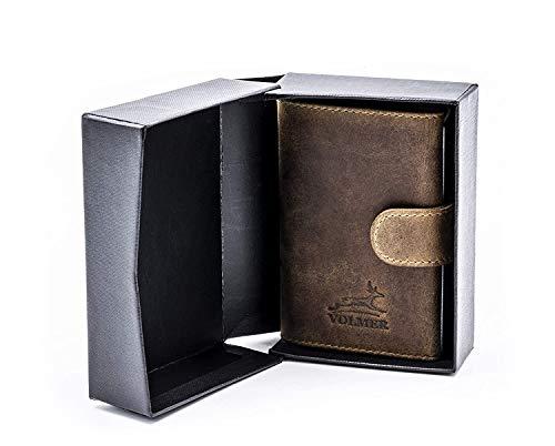 Fa.Volmer ® PopUp #VO24-black-N - Tarjetero para hombre, protección RFID NFC, monedero, hasta 11 tarjetas
