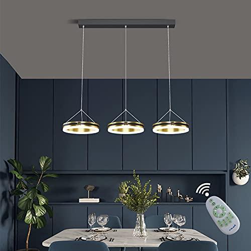 Lámpara Colgante LED 3 Llamas Regulable Anillo Luz De Mesa De Comedor Moderna Con Decoración De Cristal Lámpara De Techo De Sala De Estar, Color: Dorado, Negro, L72cm
