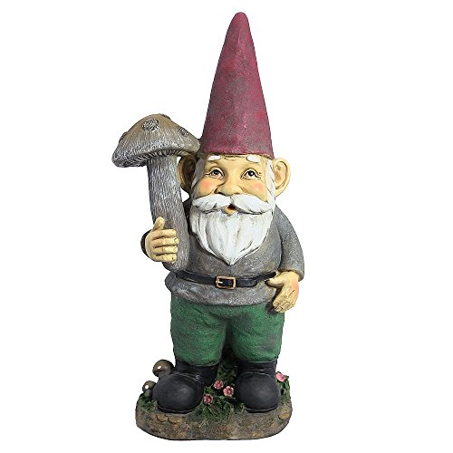 Sunnydaze Outdoor Garden Gnome Lawn Statue - Marty The Mushroom Gnome, 20 Inch Tall