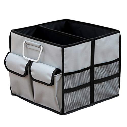 Lvguang Organizador Maletero Coche Plegable Caja de Almacenamiento, Fácil para Limpiar, Gran Capacidad con Bolsillos (Gris#1, 35 * 35 * 30cm)
