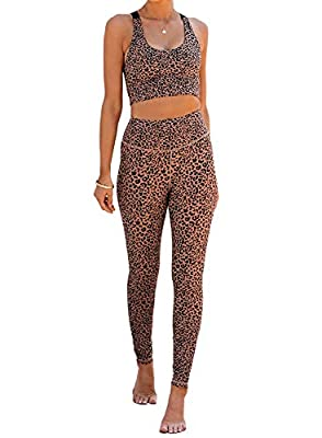 Sidefeel Women Leopard Print Workout Sets High Waist Yoga Leggings with Sports Bra 2 Piece Outfits Small Yellow