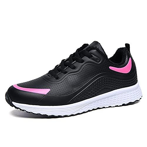 DADM X-68 - Zapatos de mujer para caminar para adultos mayores, antideslizantes, con suela suave, impermeable, cuero, calor, terciopelo, deportes, casual, zapatos, Pink, 37 EU