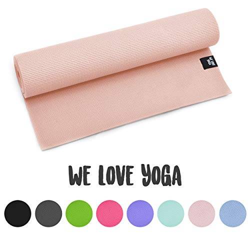 zenpower Yogamatte - We Love Yoga - 180cm, 6mm dick - rutschfest & leicht, Rosequarz