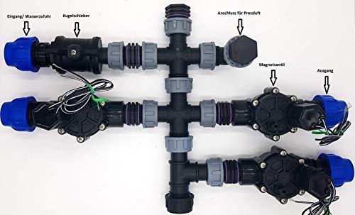 Vormontierter 3 Zonen Verteiler inkl. Rain Bird Magnetventile Bewässerung für Ventilbox, Anschluss Pe-Rohr 25 mm