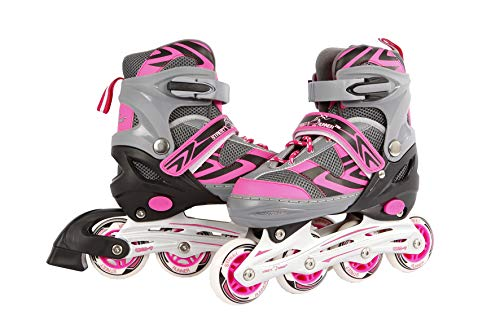 Kids Globe Street Rider Inlineskates (Inliner) rosa/grau, verstellbar von Größe 31-34, abec7 Alurahmen – 720234