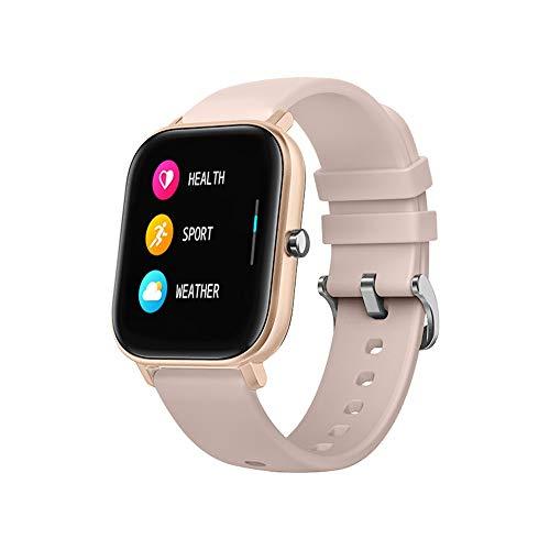 Monitor de actividad con podómetro, P8 Sports Smart Watch Fitness Ritmo cardíaco, pulsera inteligente con pantalla táctil IPX7 (dorado)