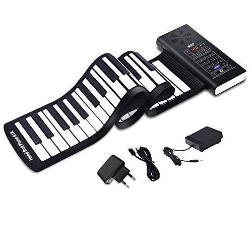 COSTWAY 61 Tasten Roll Up Piano, Roll-Up Keyboard, Klavier faltbar, Rollpiano mit Sustain Pedal, Akkustand-Anzeige, Bluetooth und MIDI Funktion