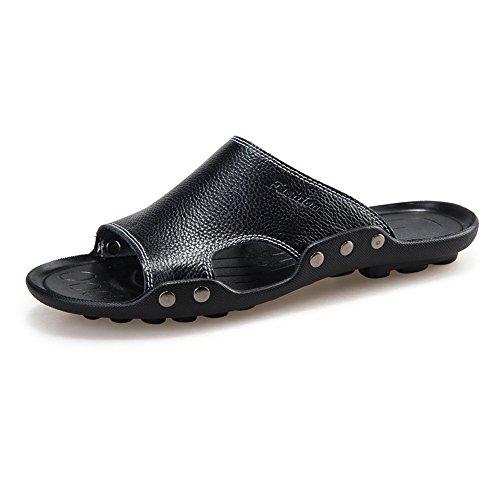 YANGFAN Zapatos de Cuero, Zapatos Casuales, Trabajo, al ai Sandalias de Hombre, Zapatillas de Cuero y Piel de Vaca, Zapatos de Cuero Hechos a Mano (Color : Black, Size : 39 EU)