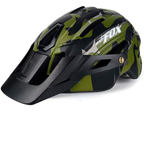 Casco da mountain bici mimetico MTB Bike Bike Guida Casco Big Brim Hat con casco di sicurezza leggera della coda ArmyGreen L (58-61cm)