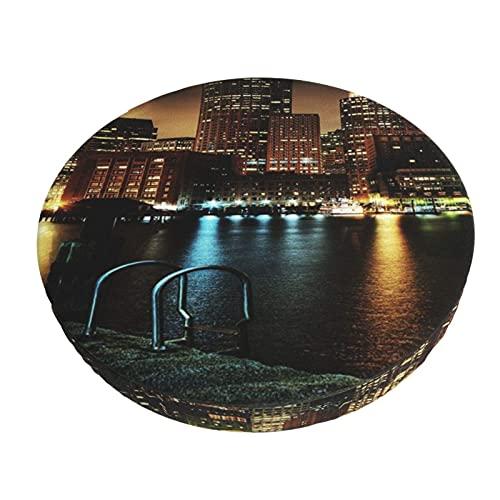 Runder Stuhlbezug Bedruckte Barhockerabdeckungen Usa Häuser Flüsse Brücken Boston Massachusetts Nachtbar Kissenbezüge, Rundes Stuhlsitzkissen Für Zuhause / Hotel / Party