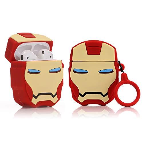 LEWOTE - Custodia Protettiva in Silicone per Airpods Apple 1 e 2 [Design Cartoni] [Ragazze o Coppie] (3D Iron Man)