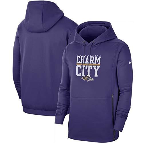 XYY NFL Jersey- Ravens Hoodie, Neue Casual American-Football-Trikot, Langarm-3D-Logo Digitaldruck-Sweatshirt (Color : Purple, Size : M)