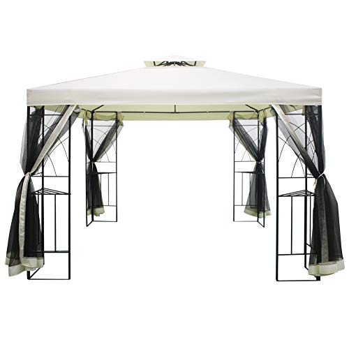 The Fellie Garden Pavilion 3x3m Outdoor Garden Patio Gazebo Shelter with Mosquito Net, Cream