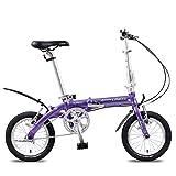 DJYD Mini Folding Bikes, leichte, tragbare 14' Aluminiumlegierung Urban Commuter Fahrrad, Super Compact Single Speed faltbares Fahrrad, Lila FDWFN (Color : Purple)