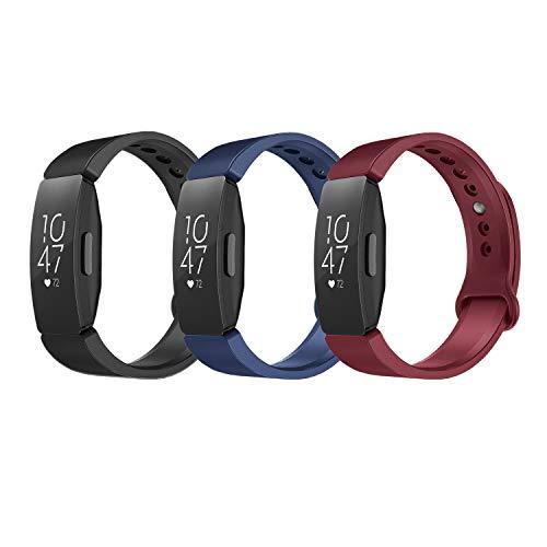 TiMOVO Cinturino Compatibile con Fitbit Inspire HR/Inspire 2/Ace 2, 3 Pezzi, Cinturino in Silicone Morbido Leggero Sportivo Cinturino di Ricambio - Nero & Blu Marino & Vino Rosso