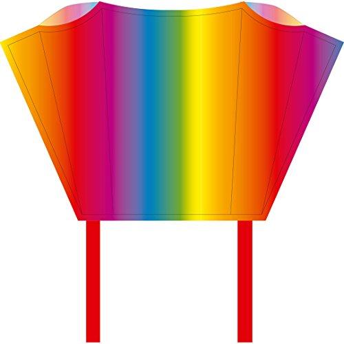 HQ100081 -Sleddy Rainbow Kinderdrachen Einleiner, ab 5 Jahren, 50x76cm und 1.9m Drachenschwanz, inkl. 17kp Polyesterschnur 40m auf Spule, 2-6 Beaufort