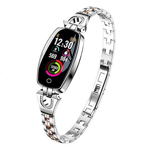 Pulsera inteligente fitness tracker, IP67 impermeable reloj de pulsera de acero para mujer, adecuado para Android y lOS-Silver