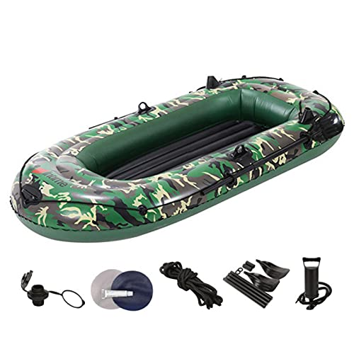 Augneveres 2/3 Personas Barca Hinchable, Bote De Pesca En Kayak, Bote Explorador Inflable con Bomba De Paleta Y Pie Y Cuerda De Seguridad Y Otros Accesorios, Capacidad De Peso 175/250 Libras intensely