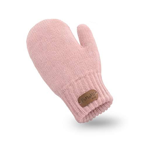 PaMaMi Kinder Mädchen Fäustlinge in Feinstrick-Optik   5 Farben   85% Acryl, 15% Polyamid   Alter 3-7 Jahre, Handschuhe, flauschig und sehr warm