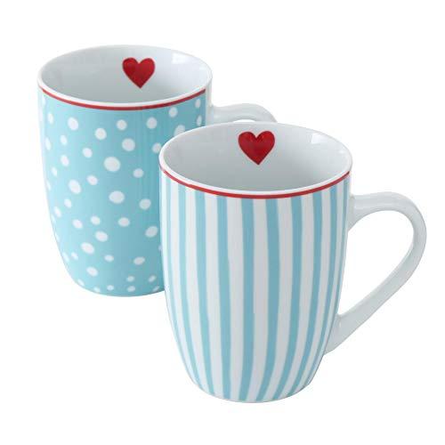2 tazas de porcelana azul claro y blanco con corazón surtido de lunares / rayas 330 ml, altura 11 cm