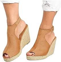 Women's Wedge Platform Sandals Cross Ankle Strap Slips Slingback Open Toe High Heel Shoes for Beach Club Wedding
