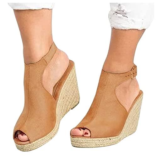 riou Sandalias Mujer Plataforma Verano 2021,Cuña Zapato Hebilla Punta Abierta Plano Zapatos...