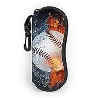 火 野球 メガネケース 眼鏡ポーチ 小物入れ コンパクト 筆箱 フック付き ファスナー式