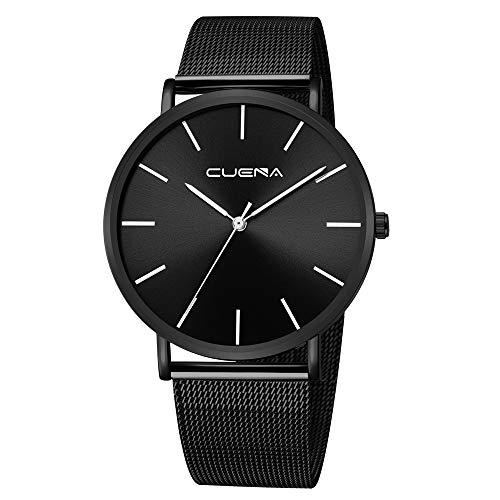 Armbanduhr Men Liusdh Uhren Ultradünne schwarze Mattzifferblatt-Luxusgoldmaschenband-Geschäftsmänner uhr(E,Einheitsgröße)