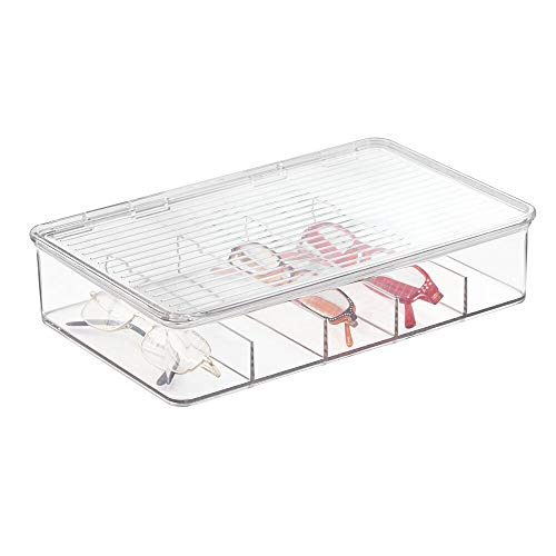 mDesign organizador de gafas con tapa y compartimentos - Caja para gafas en color transparente - También perfecta como joyero u organizador de maquillaje