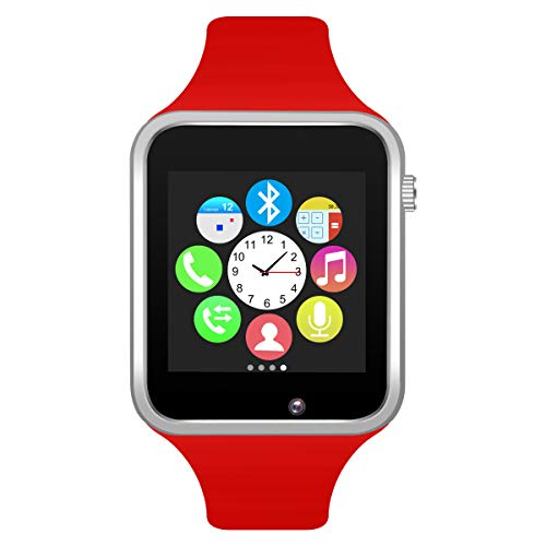 Padgene Bluetooth Smart Watch GSM Phone Watch with Camera for Samsung Nexus HTC Sony and Other Android Smartphones, (Red2)