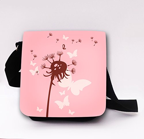 ilka parey wandtattoo-welt Schultertasche Handtasche Tasche mit Pusteblume Blume Schmetterlinge Mädchentasche Umhängetasche mit Eule kt52