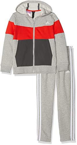 adidas Jungen Yb Ts Cotton Trainingsanzug, Mehrfarbig (brgrin/rojact/grisei/Blanco), 128