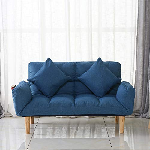 Couches and Sofas for Living Room, Foldable Sofa Bed with 2 Pillows, Sleeper Sofa Chair Chaise Loveseat for Bedroom, Leisure Lazy Sofa Sets (Blue)