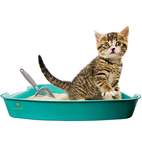 SunGrow Non-Stick Cat Litter Sifter Scoop, Manages Big Clumps of Multi-cat Families, No Wrist Pain or Hand Fatigue, Anti-Scatter Sides, Industrial Grade Stainless Steel, Family Heirloom