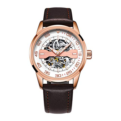 Mens Wrist Watches Automatic Mechanical Skeleton Watch Analog Chronograph with Leather Strap Dial for Gents Casual Decoration