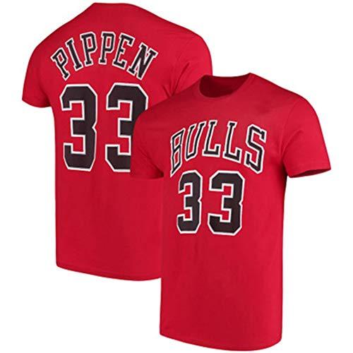 HS-FWJ.HW Chicago Bulls Scottie Pippen NO.33 Reine Baumwolle Basketball Kurzer Ärmel Sport-T-Shirt Läuft Atmungsaktiv Fitness-Trainingsanzug,Rot,XXXL