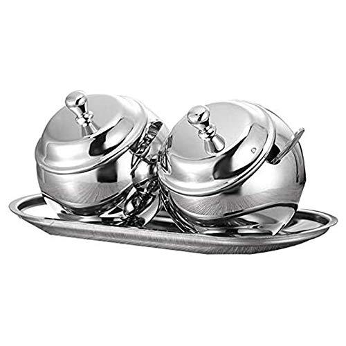 TYUIOO Cucina Sugar Bowl Set con Coperchio Cucchiaio e Vassoio for tè e caffè in Acciaio Inox di stoccaggio condimento Contenitore Pot Vintage Barattolo di Caramelle
