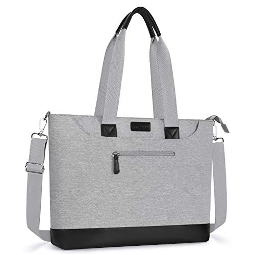 MOSISO USB Port Laptop Tote Bag Up to 17.3 inch, Large Organizer Work Business Office Travel Shopping Teacher Shoulder Bag with Back Trolley Belt Compatible with MacBook & Notebook, Gray