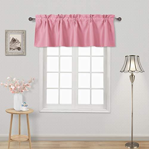 DWCN Pink Valance Pod Pocket Blackout Kitchen Valance 52 x 18 inch Long Window Tier Valance Curtains, 1 Panel