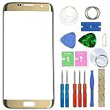 MovTEK Pantalla Repuesto Cristal Tactil Frontal Original para Samsung Galaxy S7 Edge SM-G935F G935FD 5.5' con Kit de Herramientas - Oro