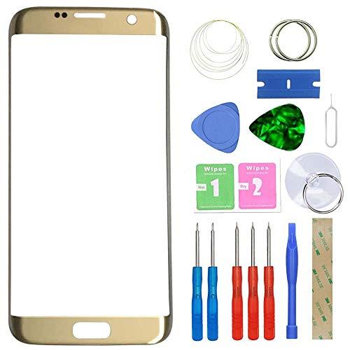 """MovTEK Pantalla Repuesto Cristal Tactil Frontal Original para Samsung Galaxy S7 Edge SM-G935F G935FD 5.5"""" con Kit de Herramientas - Oro"""