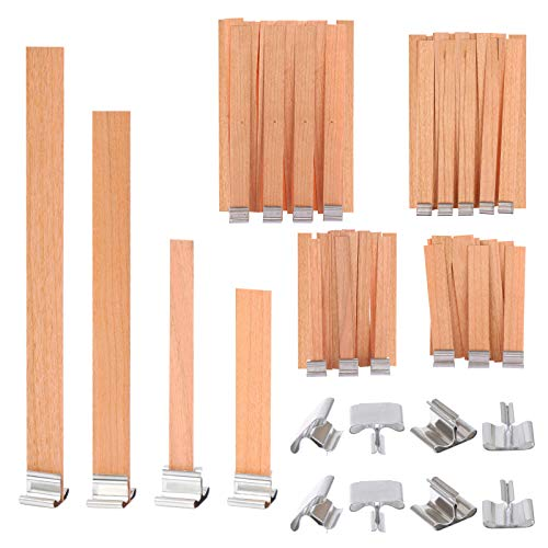 OBANGONG 80 Pieces Smokeless Natural Wooden Candle Wicks for Candle Making with Iron Stand Candle Cores for DIY Candle Making Craft,4 Sizes