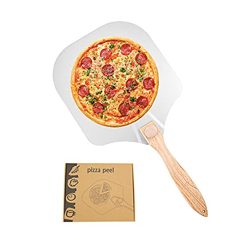 Swetup Pizzaschaufel, Pizzaschieber, Pizzastein mit Faltbarem Holzgriff, Aluminium Pizzaheber, Brotschieber für Hausgemachte Pizza, Brot, Backen und Kekse, 60 * 30.5cm