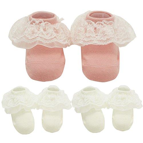 Nihao Baby baptism socks for girls newborn white lace dress christening socks 3 packs (White pink, 0-3 months)