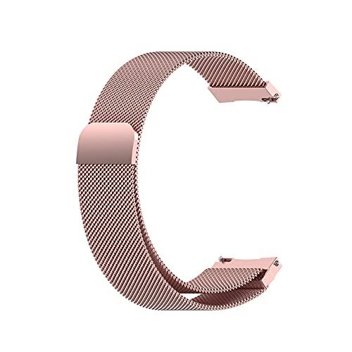 HPTQJ Metallband, Edelstahl-Mesh-Metallschleife Mit Magnetverriegelung Ersatzgetriebe Sportband (Color : Rose pink, Size : 18mm)