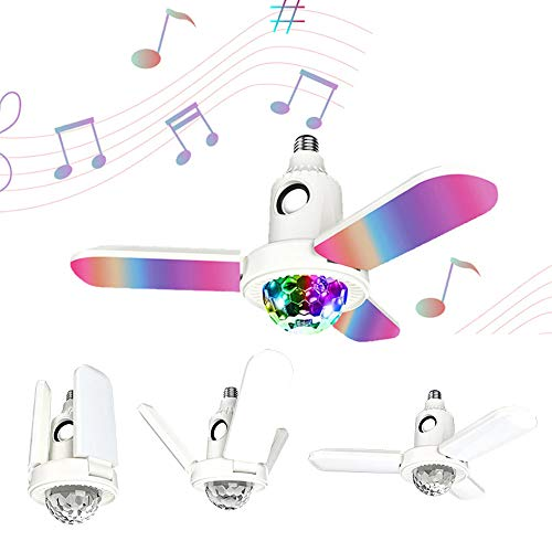 Lámpara de ventiladores de techo con luces de música de cristal Bluetooth, control remoto Ventilador de araña plegable RGB 40W E27 Multicolor 3 hojas Bombilla deformada para comedor dormitorio