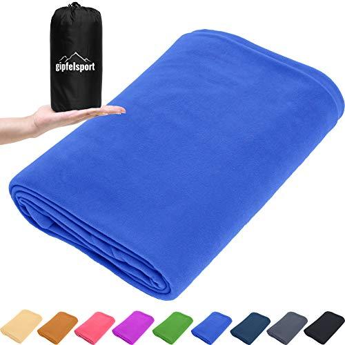 gipfelsport Mikrofaser Fleece Decke mit Schlafsackfunktion I Größe 185 x 150cm, 690 g I Microfaser Camping Deckenschlafsack I blau